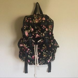 Black Poppy Pacsun Floral Backpack